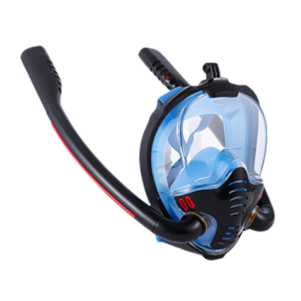 Snorkeling Mask Double Tube Silicone Full Dry Diving Mask Swimming Mask Diving Goggles Self Contained Underwater Breathing