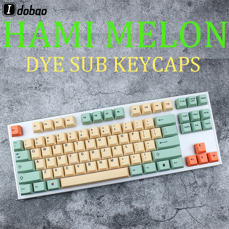 Hami Melon Cherry Profile Keycaps For Mechanical Keyboard Key Dye Sub Japanese Root Black Font Thick Pbt Keycap Gh60 Miami Xd84