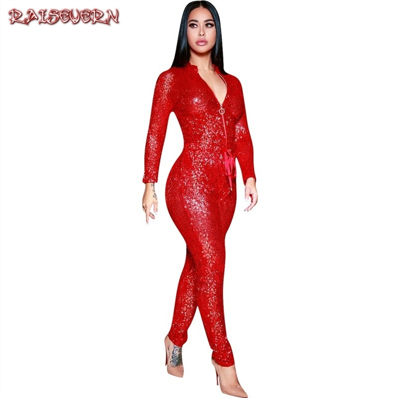 Sexy One Piece Outfits Sequin Jumpsuits Autumn 2019 Long Sleeve V Neck Zipper Red Hollow Out Party Club Rompers Womens Jumpsuit