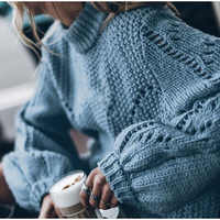 Women's Sweaters Hollow Out Loose Knitted Lantern Sleeve O-Neck Solid Pullover Sweater Female 2019 Autumn Warm Ladies Pullovers