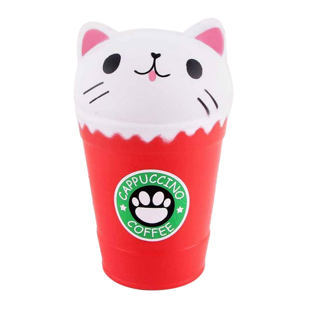 Kawaii Coffee Cup Cat Head Scented Toys Practical Slow Rising Squeeze Toys Anti-strss Best Gift Stress Reliever Toys