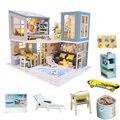 Puppe haus villa küche schwimmen pool diy dollhouse kit möbel kinder miniatur holz haus spielzeug salon de jardin