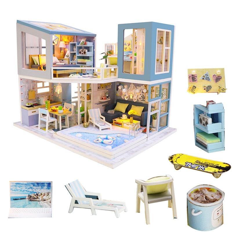 Doll House Villa Kitchen Swimming Pool Diy Dollhouse Kit Furnitures Kids Miniature Wooden House Toy Salon De Jardin