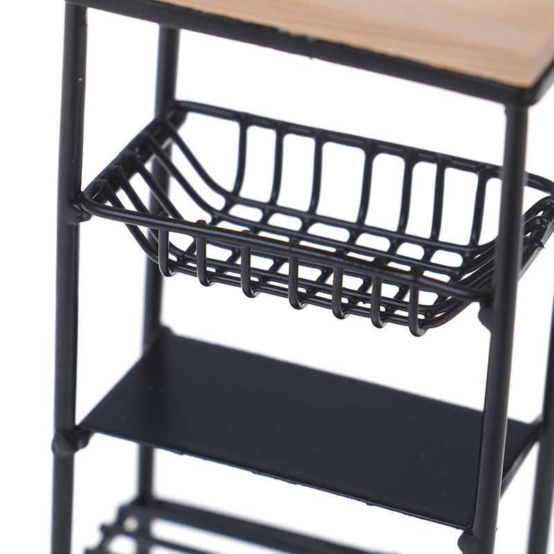 1:12 بيت الدمية اكسسوارات صغيرة سوداء المطبخ خزانة جانبية مصغرة عرض الرف اكسسوارات المطبخ الطعام خزانة الاطفال
