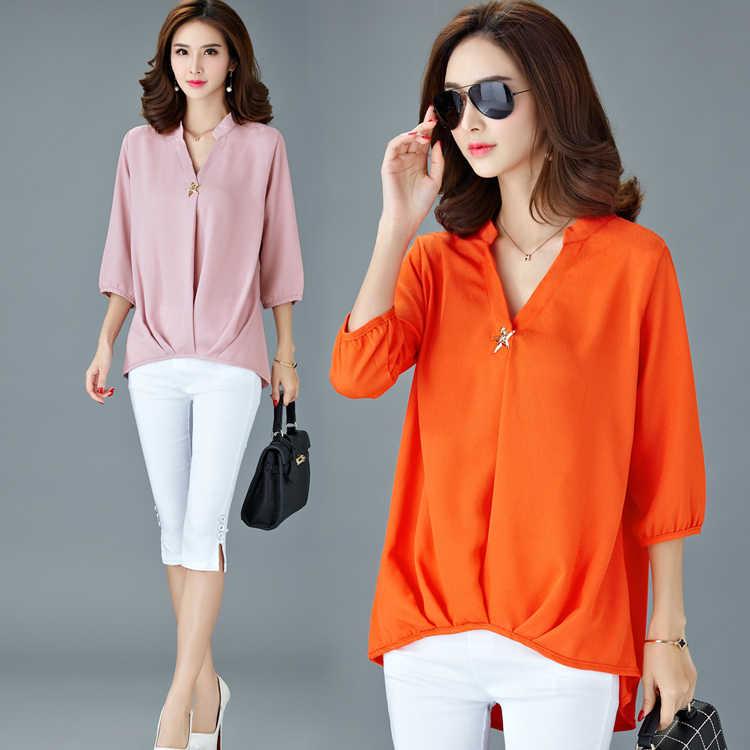 Nieuwe Lente 2020 Plus Size 5XL Sumer Blouse Vrouwelijke Stand Kraag Werkkleding Effen Kleur Wit Office Shirts Voor Vrouwen blouses LX33