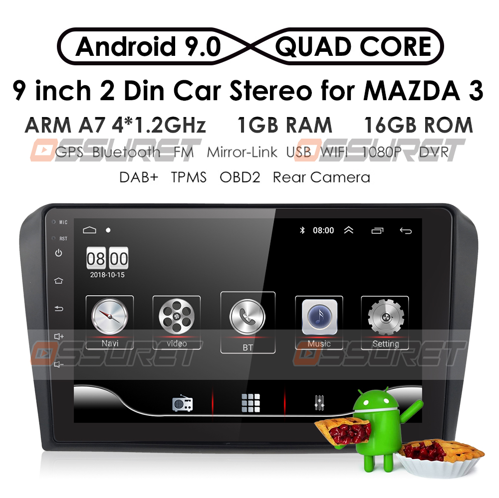 1G+16G Android 9.0 Car Radio Multimedia Video Player For Mazda 3 2004-2013 Mazda3 maxx axel Wifi Navigation GPS 2din Auto Stereo