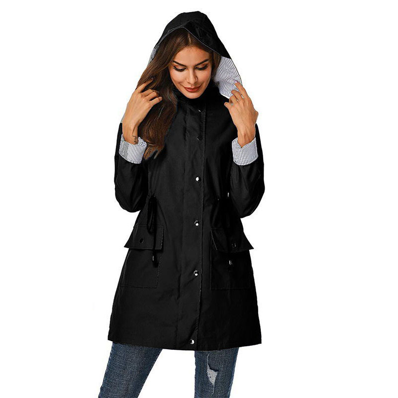 2019 Autumn Women Long Sleeve Hooded Coat Ladies Solid Color Windbreaker Coat Outdoor Casual Drawstring   Trench   Coats