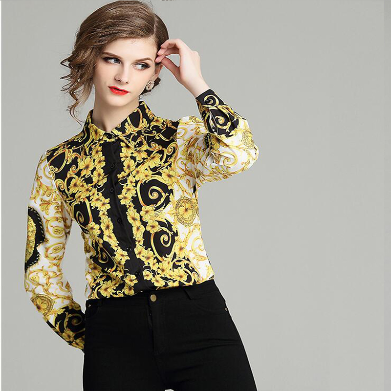 New Style Fashion 2019 New Baroque Wind Totem Print Lapel Long-sleeved Shirt