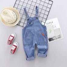 Г. Весенне-осенние хлопковые детские модные джинсовые камзол с рисунком для мальчиков и девочек комбинезон для детей от 0 до 4 лет длинные штаны