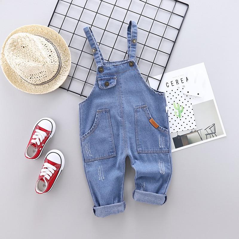 2020 Spring Autumn Cotton Cartoon Pattern Children Boys Girls Fashion Denim Camisole Pants 0-4 Years Kid Overall Long Pants