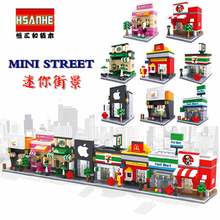 HSANHE 3D Retail Store Food Drink Cafe Phone Mini Shop Educational Building Blocks Mini City Street Creative Toys for Children hsanhe new street store plastic building blocks mini shop architecture dinosaur museum educational brinquedos for kids xmas gift