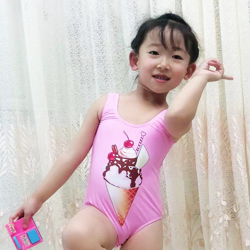 2019 New Style CHILDREN'S Swimsuit Girls One-piece Solid Color Ice Cream Bathing Suit Cartoon Pattern Currently Available Manufa