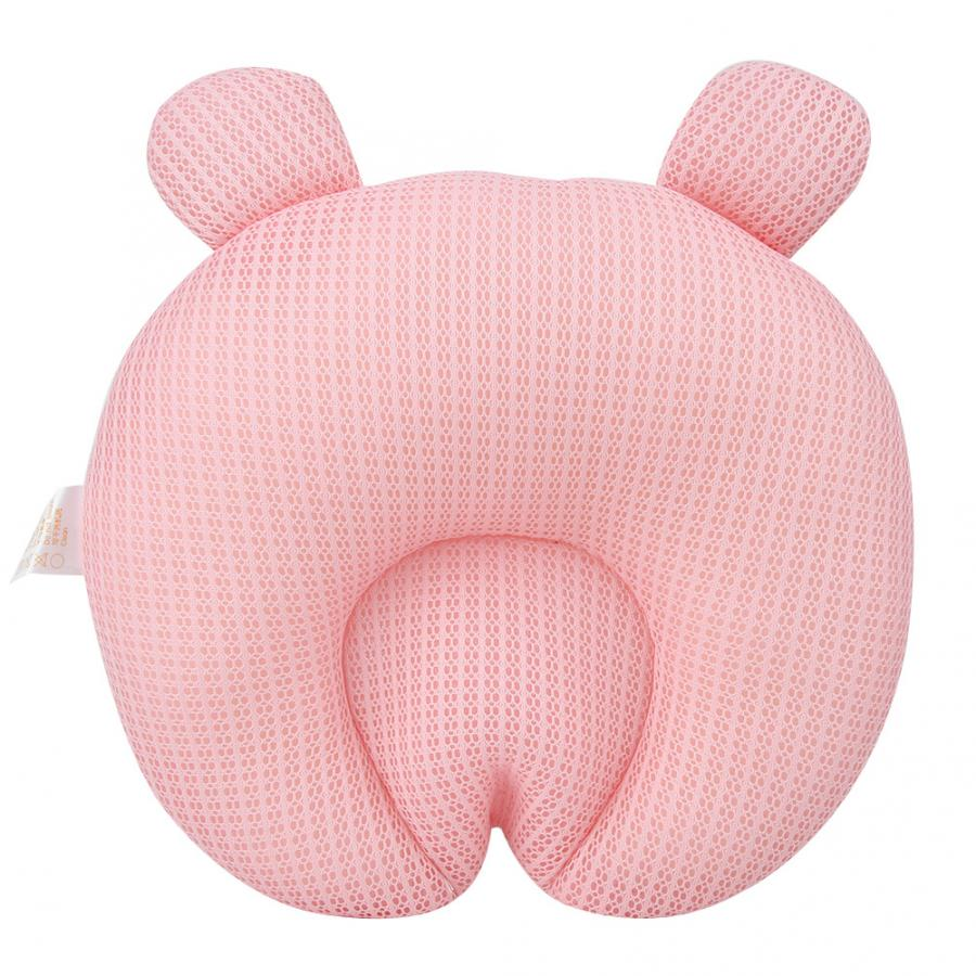 Head Shaping Tencel Breathable Round Memory Pillow For Newborn Baby High Quality Pink
