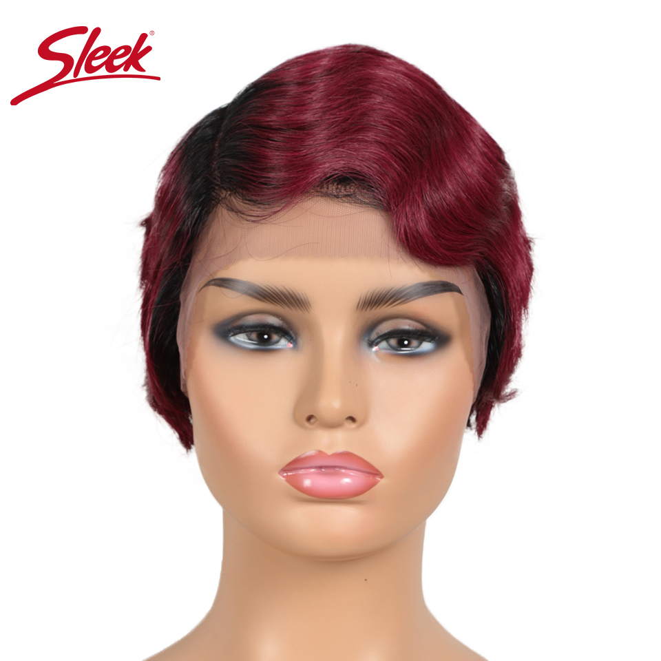 Sleek Short Human Hair Wigs Cool Short Pixie Haircuts For 2020 Lace Front Human Hair Wigs 100% Remy Brazilain U Part Wigs