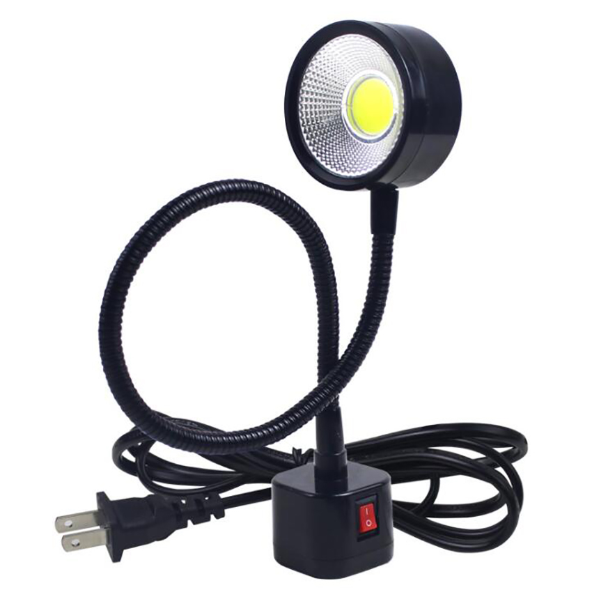 LED Work Light Magnetic Base Flexible Gooseneck Lamp 220V 5W For Lathe Milling Drill Press Industrial Lighting, US Plug