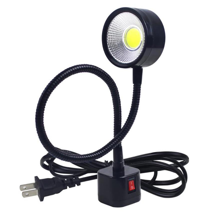 LED Work Light Magnetic Base Flexible Gooseneck Lamp 220V 5W For Lathe Milling Drill Press Industrial Lighting, US Plug