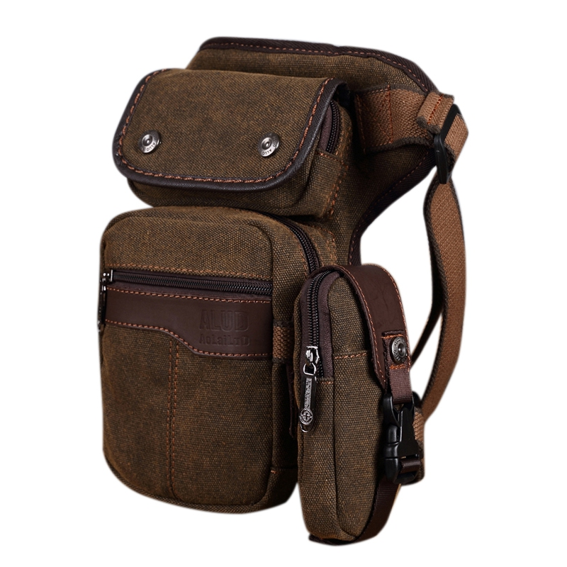 AOLAILUDI Motorcycle Rider Men Drop Leg Bag Travel Messenger Shoulder Thigh Pouch Canvas Hip Bum Belt Waist Fanny Pack