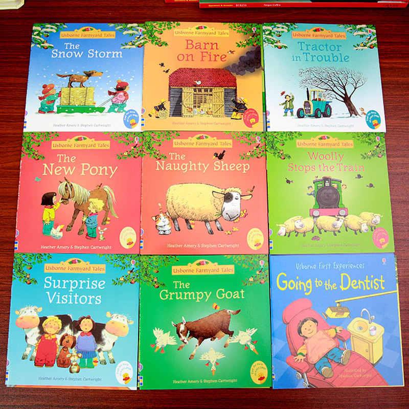 20 libros/12 libros por 1 juego para niños, libros de historia de Usborne, libros de cuentos de Farmyard, libro famoso en inglés para bebés, libro educativo para niños de 15x15cm