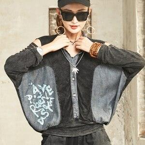 Image 4 - SOUL kaplan yeni 2020 moda kore bayanlar bahar seksi gömlek bayan gevşek baskılı bluzlar kadın Vintage Denim üstleri artı boyutu