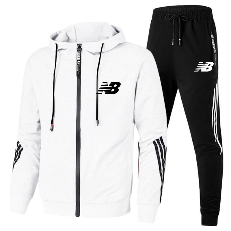 New Solid Color Men's Autumn Winter Sets Zipper Hoodie+pants Two Pieces Casual Tracksuit Male Sportswear Brand Clothing Sweat Su