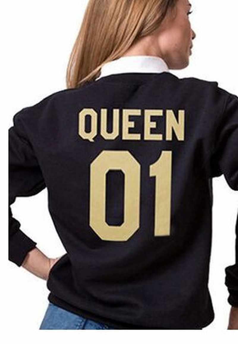 King Queen Gold Hoodiesเสื้อEuropeTops 2019ผู้หญิงCasual Kawaii Harajuku Kpopเหงื่อPunkสำหรับสาวเสื้อผ้าเกาหลี