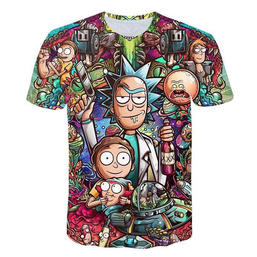 Rick e Morty Por Jm2 Arte 3D t shirt Homens camiseta Verão Anime T-shirt de Manga Curta T-shirt O Pescoço Tops Gota navio