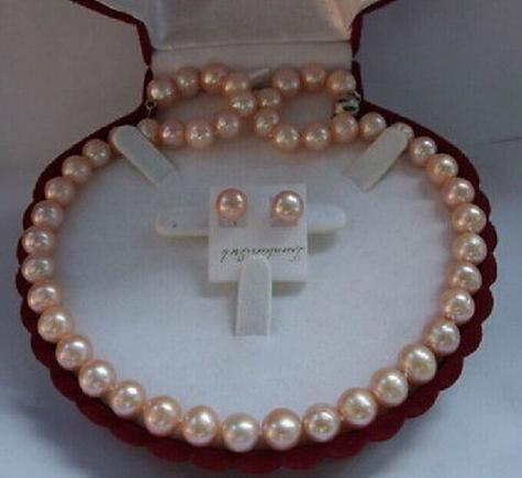 Classique mer du sud rond 10-11mm or rose collier de perles 18 pouces boucle d'oreille gratuite