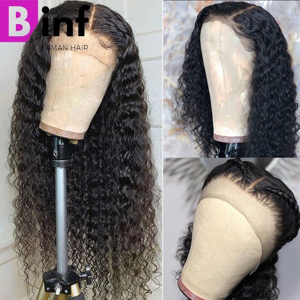 Волосы binf индийские глубокие волнистые человеческие волосы парики 360 кружевной фронтальный парик с детскими волосами предварительно выщип... - 3