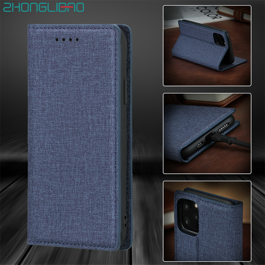 Fabric Texture Flip Leather Case for IPhone 11 Pro Xr Xs 11pro Max X 8 7 6 6s Plus Luxury Magnetic Wallet Book Cover Bag Pouch(China)