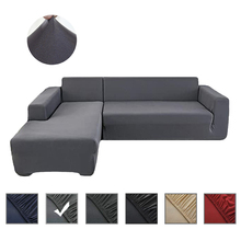 Solid Color Elastic Sofa Cover Spandex Modern for Living Room L Shape Corner Sofa Couch Slipcover