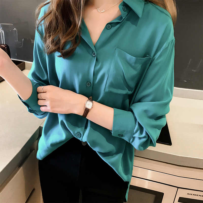 Womens Solid Button Blouses Fashion Turn-down Collar Shirt Blouses Ladies Casual Long Sleeve Chiffon Shirt Plus Size Female Tops