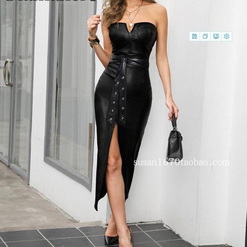 2020 nouvelles femmes robe Sexy bustier tubulaire en cuir PU fentes noir longue robe femmes