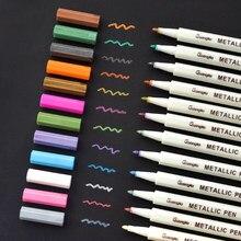 10/12/15/20 cores lote metálico caneta marcador diy scrapbooking artesanato escova macia caneta marcador de arte para artigos de papelaria material escolar