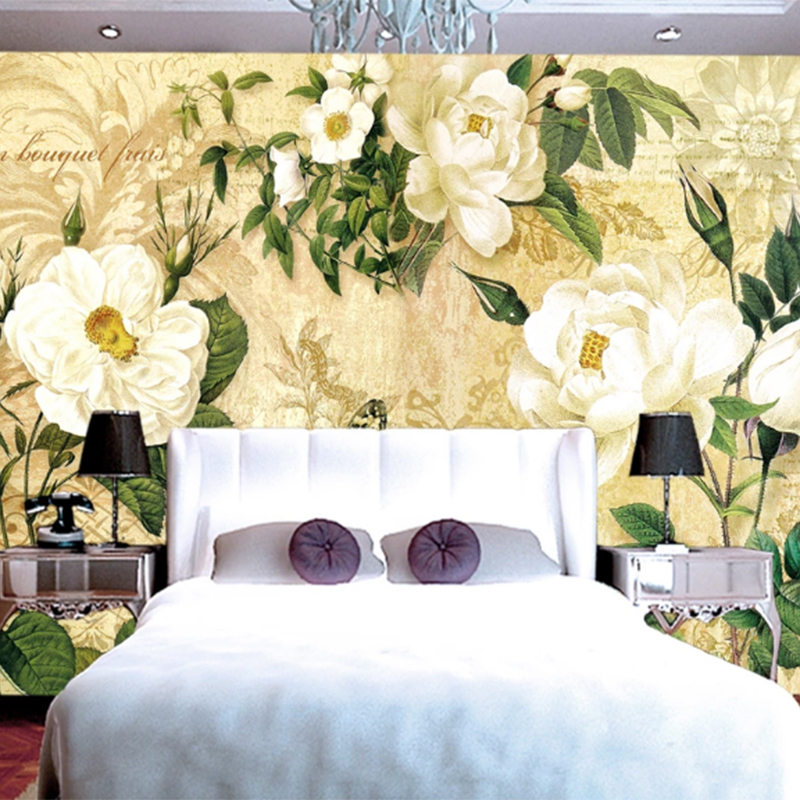 2020 Fashion White Rose Innocent Love Butterfly Flower 3d Wallpaper Classic Floral Retro Living/Bedroom Background Wall Murals