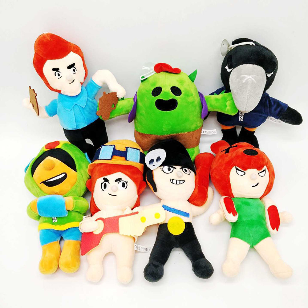 7pcs/Set Amine Brawl Game Cartoon Star Hero Spike Shelly Leon PRIMO MORTIS Kawaii Cute Brinquedo Plush Toy Birthday Gift 23cm