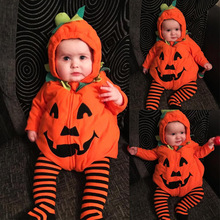 Halloween Party Newborn Rompers Pumpkin Design Infant Toddlers with Hat Fleece Baby Outwear Fashion Boys and Girls Party Clothes