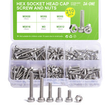 DA-ONE 210pcs M3 Stainless Steel High Quality Allen Bolt Hex Socket Round Cap Head Screw And Hex Nut Set Kit