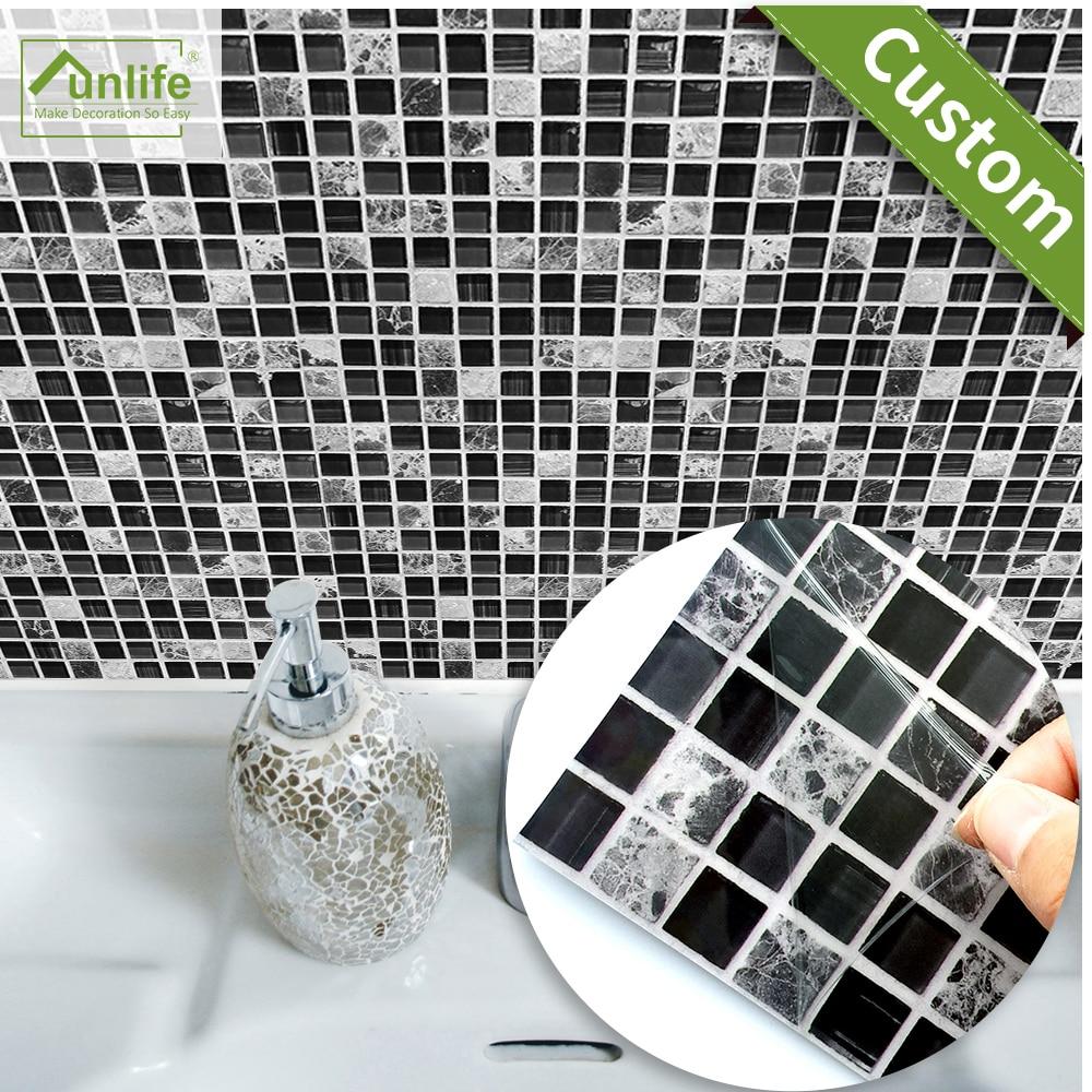 Funlife özel 10/15/20/25/30cm kendinden yapışkanlı su geçirmez DIY siyah mermer mozaik duvar etiket mutfak zemin fayansı Sticker 10 adet