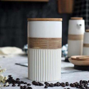 Creative Ceramic Coffee Bean Jar Handmade Storage Bottle Sealed Coffee Bottle Kitchen Jar Sugar Dried Fruit Cereal Storage Tank 4