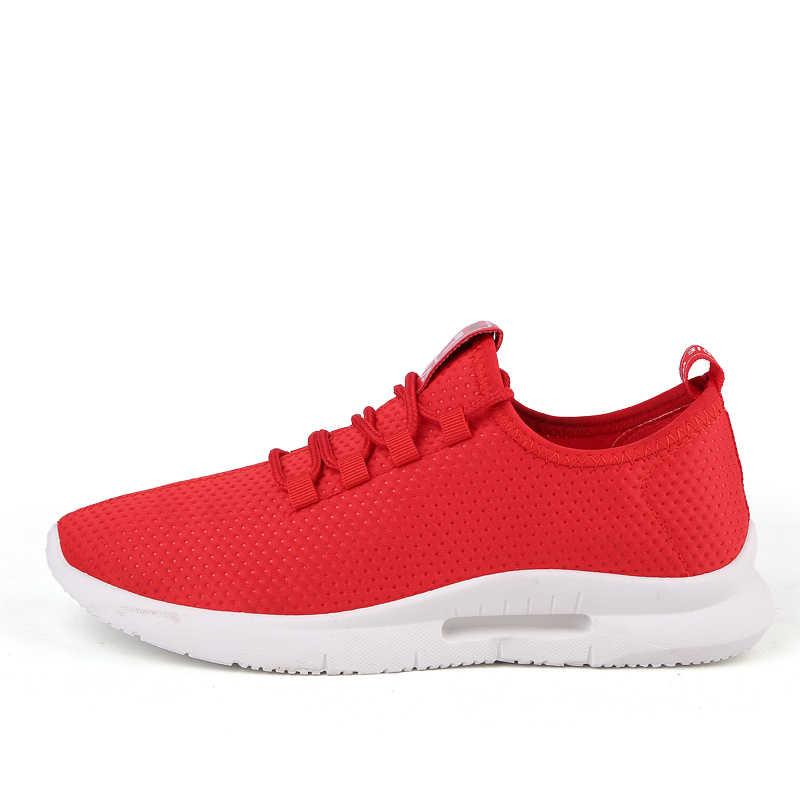 Marka rahat ayakkabılar erkekler kırmızı moda erkek nefes rahat dantel Up açık ayakkabı yürüyüş Zapatillas Deportiva büyük boy 47