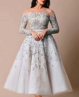 Designer Prom Dresses Illusion O Neck Beaded Heavily Long Sleeve Tea Length Vestidos De Formature