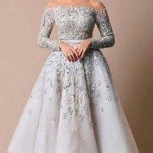 Designer Prom Dresses Illusion O Neck Beaded Heavily Long Sl