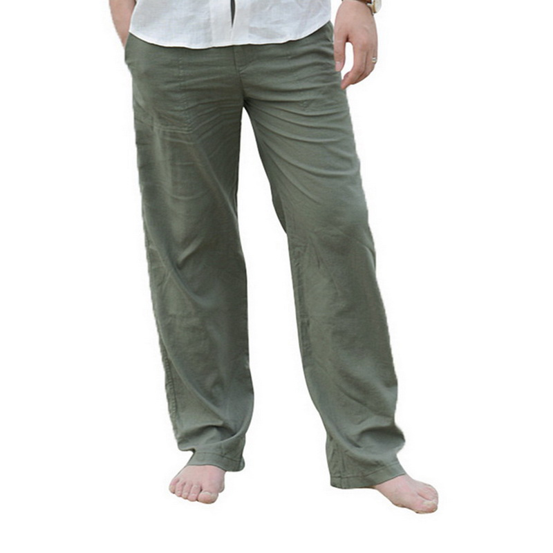 Men Linen Pants 2019 New Summer Casual Elastic Waist Loose Male Solid Color Straight Trousers Beachwear Joggers Sweatpants