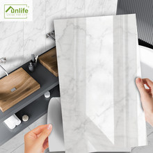 Funlife[R] – autocollant de carrelage en PVC, NOUVELLE série de MAISON, 30x60cm, marbre blanc, imperméable, décor pour sol de cuisine, salle de bains