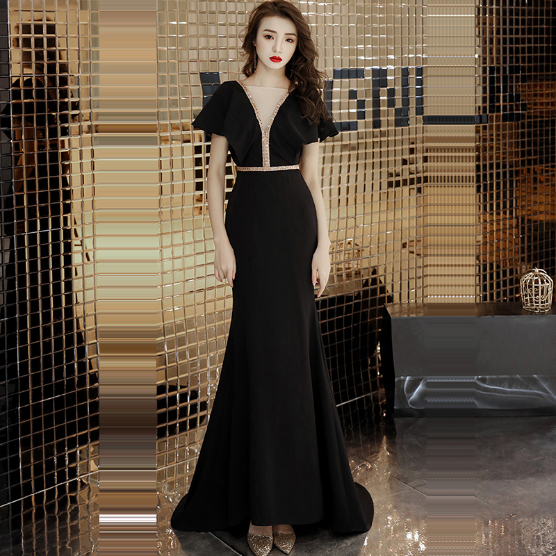 Evening     Dress   Soild V-neck Short Sleeve Robe De Soiree 2019 Floor Length Crystal Women Party   Dresses   Backless   Evening   Gowns F159