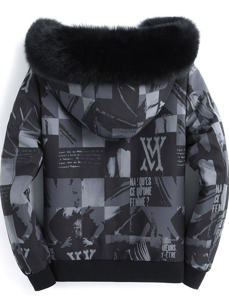 Real Fur Parka Short Winter Jacket Men Mink Fur Liner Fox Fur Collar Plus Size Parkas Manteau Homme Hiver 4752 KJ1499