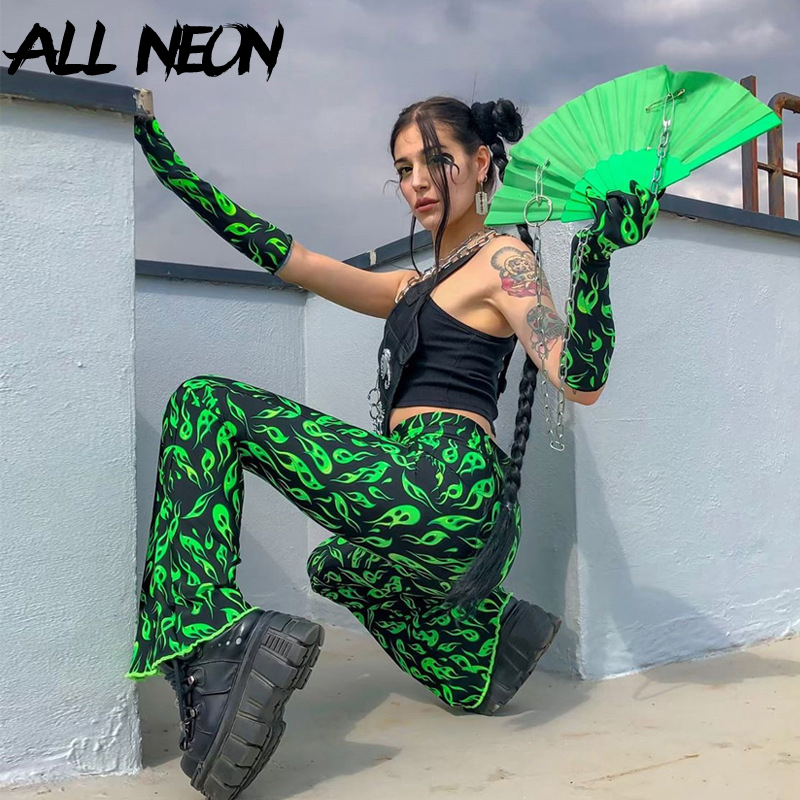 ALLNeon E-girl Style Long Pants Green Printing Flare Pants Fashion Rave Festival Pants Streetwear Trousers Women Punk Clothes