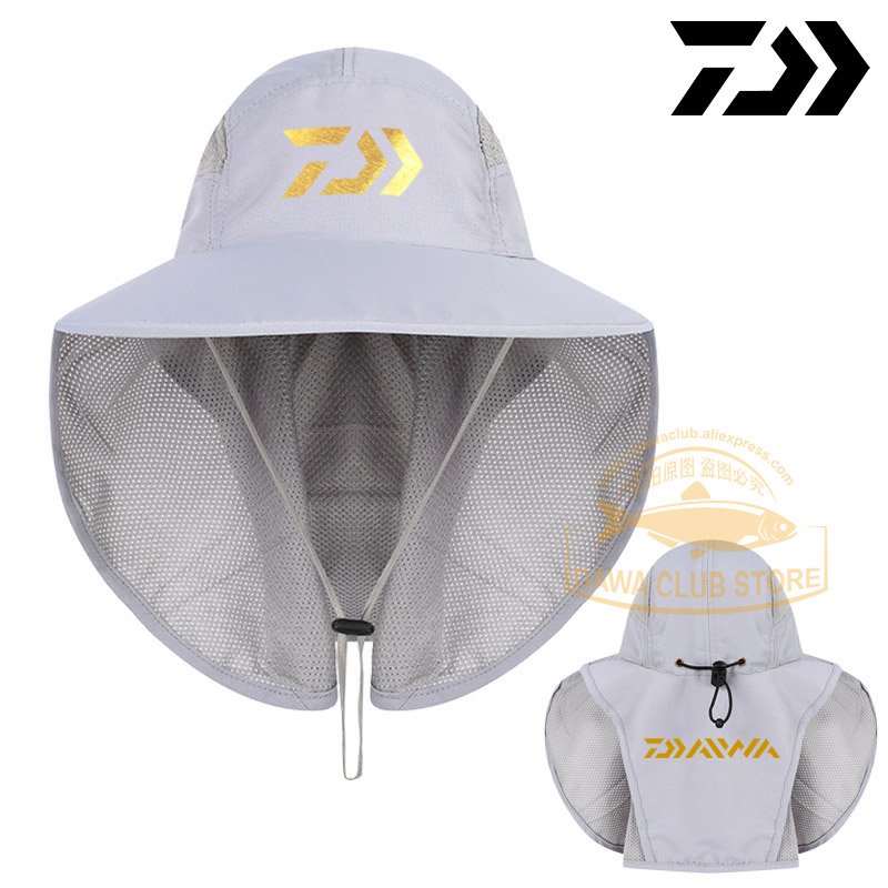 2019 UNISEX Daiwa Fishing Cap UV Protection Face Neck Cover Sun Protcet Man DAWA Fishing Hats Outdoor Fishing Hiking Visor Hat
