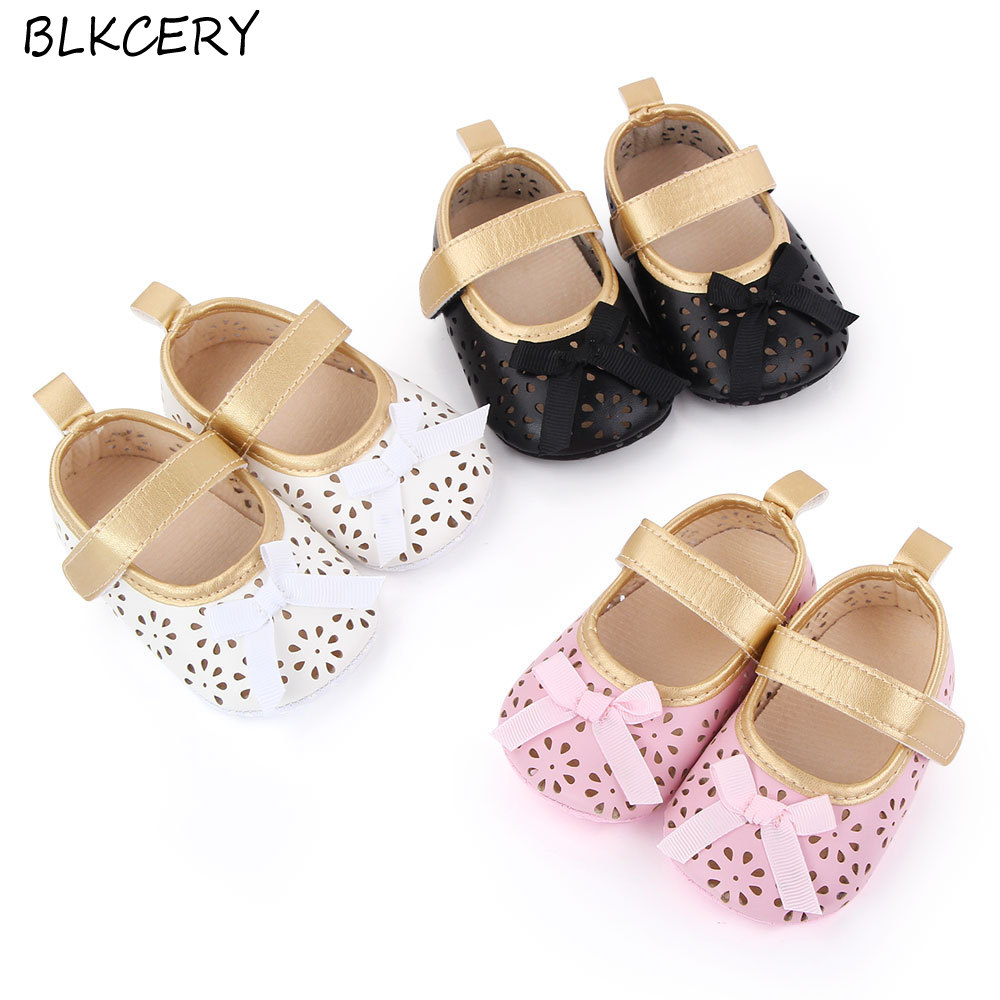 Fashion Baby Girls Crib Shoes Newborn First Step Toddler leather Bow Loafers Infant Tenis for 1 Year Old Footwear Doll Shoe Gift