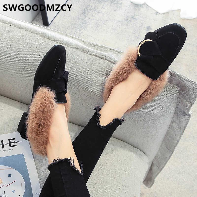 Giày Lười Nữ Giày Lười Cho Nữ Lông Cho Nữ Giày Nữ Thời Trang Mùa Thu Mocassin Femme Zapatos De Mujer De Moda 2019 Туфли